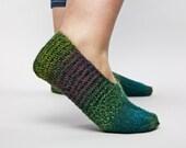 Soft hand knitted green socks slippers for women