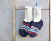 "Good man""  Hand knitted warm and cozy home socks for men"