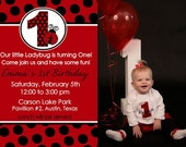 Ladybug 1st Birthday invitation Party First Girl Personalized Black Red Polka Dots YOU PRINT Invite Photo Card