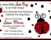 LadyBug Baby Shower Invitation Girl Invite Lady Bug Personalized Digital Invite YOU PRINT