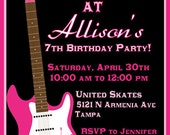 Roller Skating Invitation Birthday Party Girl or Boy DIY Invite YOU print Skate Guitar Rock N Roll