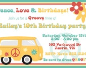 Personalized Digital Groovy 60's Birthday Party Invitation Design YOU PRINT Invite Printable 1960's hippie flower bus