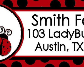Add-on Matching Ladybug Address Labels Design ONE SHEET matches our Lady Bug invitations