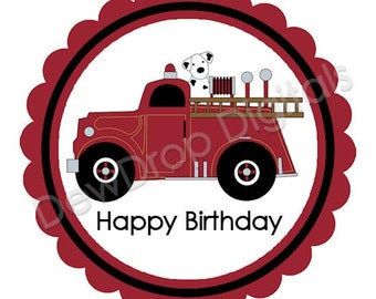 INSTANT DOWNLOAD Personalized Firetruck bag tags, cupcake toppers, digital file you print DIY matches Firetruck invitations