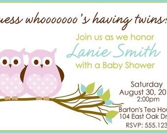 OWL Baby Shower Twins Invitation Digital You Print Invite Custom Twin Girls CLEARANCE