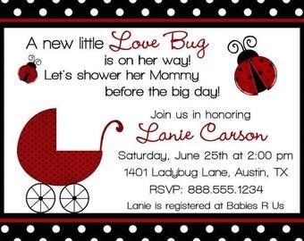 LadyBug Baby Shower Invitation Printable Lady Bug Girl Invite Personalized Digital Ladybugs Bugs