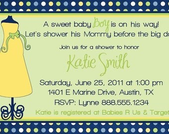 Personalized Chic Baby Shower Invitation Card Invite YOU PRINT Crib DIY Photo Card Boy