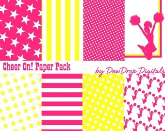 INSTANT Download Digital Scrapbooking Paper Pack Cheerleading Cheerleader Scrapbook Papers Kit