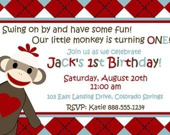 Personalized Sock Monkey Boy Girl Birthday Invitation Customized Digital Invite YOU PRINT