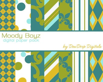 SALE Digital Paper Pack Retro Boy Baby Scrapbooking INSTANT DOWNLOAD Blue Green Yellow and White Scrapbook Papers Kit Boys Dad Moody Mod