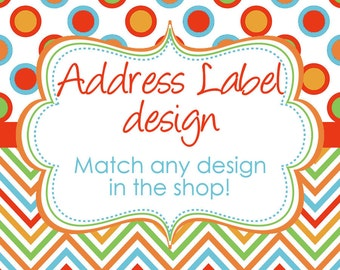 Matching Address Label Design digital YOU PRINT DIY match any design in my shop
