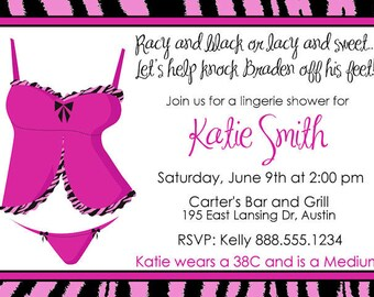 Lingerie Shower Invitation Bridal Wedding Invite Printable Personalized Zebra Pink Black  Digital Bride Sexy Bachelorette Bachlorette Party
