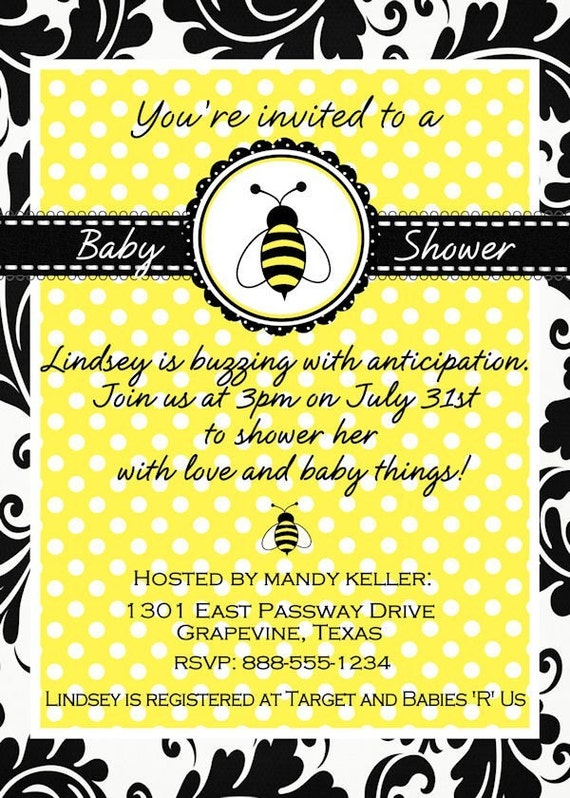 Bee Baby Shower Invitation Printable Yellow Black Personalized Boy or Girl Invite