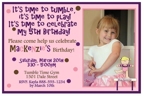 Custom Girls Gymnastics Birthday Party Invitation Invite JPEG Photo Card YOU PRINT Digital Invite