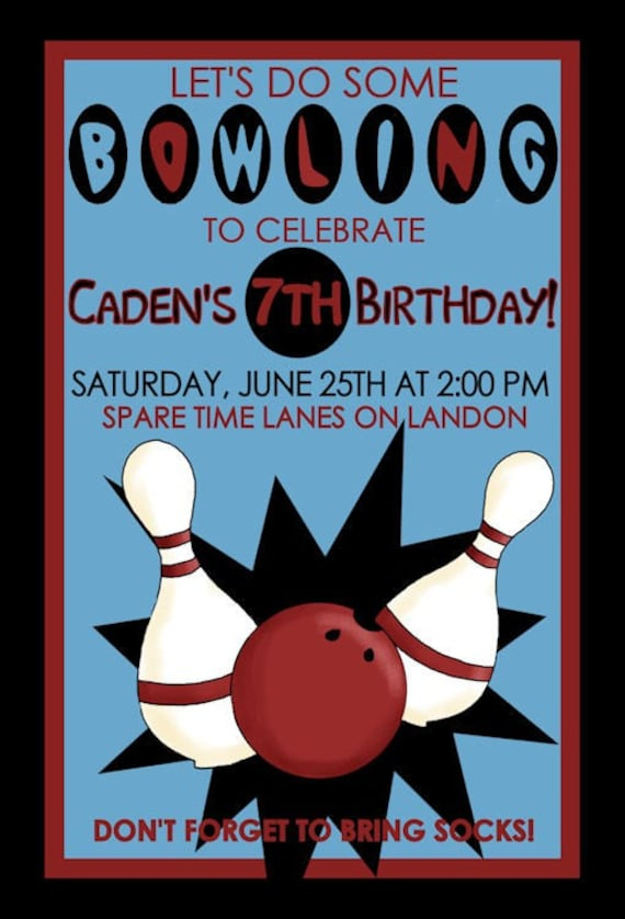 Bowling Birthday Party Invitation Design Digital YOU PRINT Invite Boy Bowl