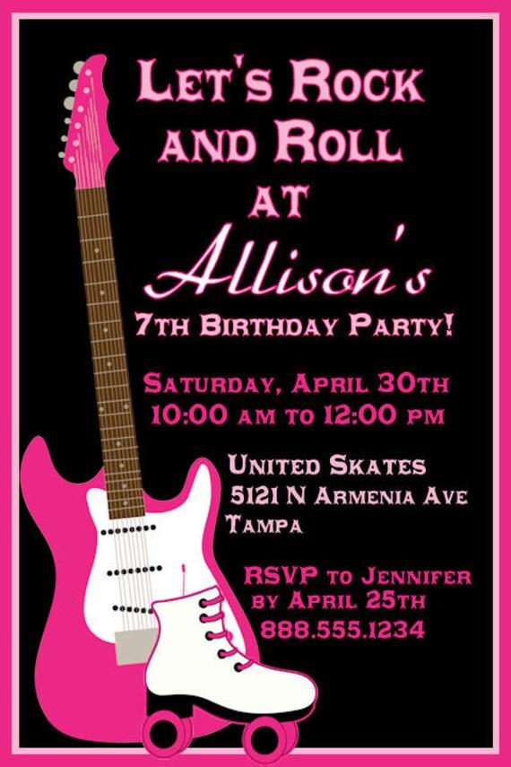 Roller Skating Invitation Birthday Party Girl or Boy DIY Invite YOU print Skate Guitar Rock N Roll