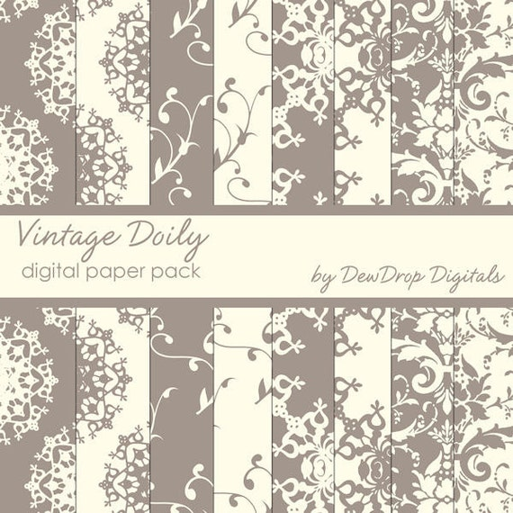 SALE Digital Paper Pack Damask Lace Wedding Linen Scrapbooking INSTANT DOWNLOAD Classic Ivory and Brown Scrapbook Papers Kit chocolate