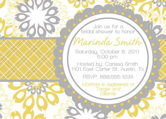 Floral Chic Bridal Wedding Shower Invitation Digital File Bride DIY YOU PRINT Invite Yellow Grey Gray Personalized