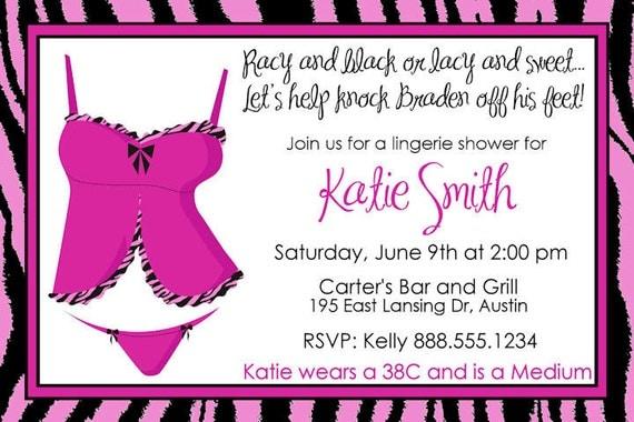 Lingerie Shower Invitation Bridal Wedding Invite Printable Personalized Zebra Pink Black  Digital Bride Sexy Bachelorette Bachlorette Party