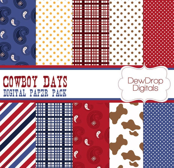 SALE Digital Paper Pack Scrapbooking Cowboy INSTANT DOWNLOAD Blue Red and White Scrapbook Papers Cowgirl Western farm
