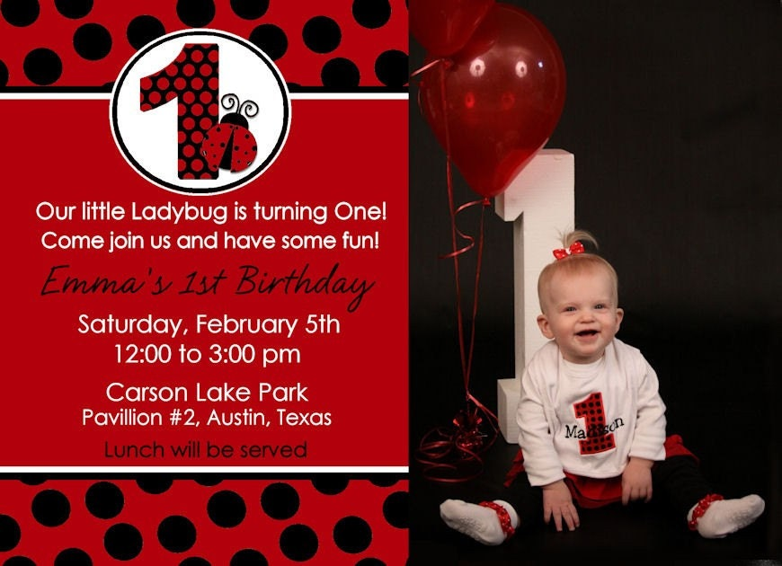 Ladybug 1St Birthday Invitations is an amazing ideas you had to choose for invitation design