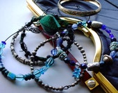 Boho Bangle Stack in Peacock blue, Teal and silver, Gypsy style, urban tribal