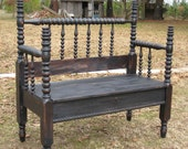 Spindle Bench in Distressed Black