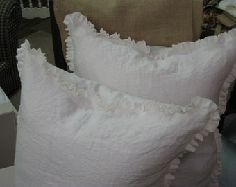 "Pair of Washed Linen Euro Shams-1"" Ruffled Edge-Vintage White Washed Linen-Ruffled Euro Shams-26x26 Shams-Zipper Closure"
