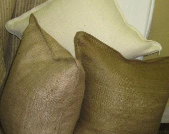 Pair of 22x22 Tailored Burlap Pillow Slips