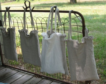 Ruffled Washed Linen Tote-Your Color Choice