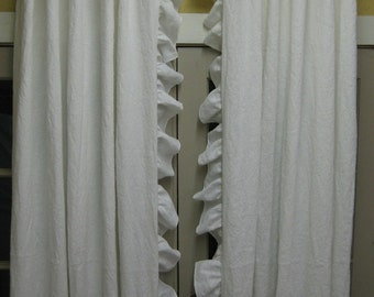 Washed Vintage White Linen Ruffled Drapery Panels-One Pair - Ruffled Linen Curtains - Unlined Linen Panels