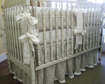 "Oatmeal and Cream Washed Medium Weight Linen Crib Bedding-1"" Ruffled Bumpers and 1"" Ruffled Crib Skirt"