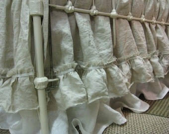 Layered Washed Linen Crib Skirts  - Two Washed Linen Crib Skirt Separates
