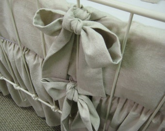 Washed Natural Cotton Farm House Crib Bedding-Simple Crib Bumpers-Sash Ties-Classic Gathered Crib Skirt-Neutral Crib Bedding Classics