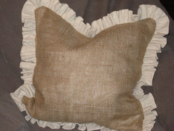 "Pair of 22"" Burlap Pillows with natural cotton gathered ruffle"