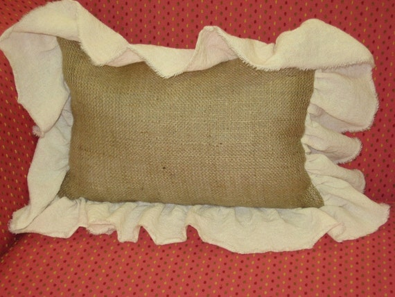Burlap Pillow Slip with Torn Cotton Ruffle