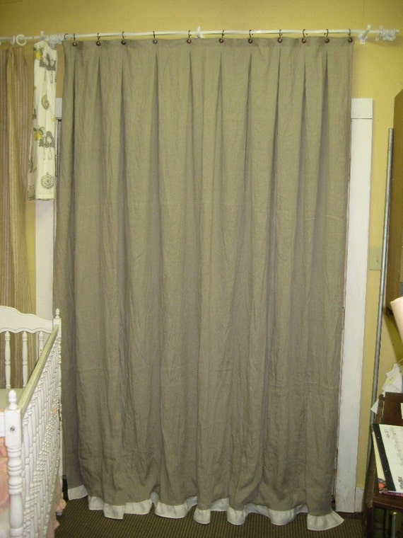Natural Flax Linen Shower Curtain Optional Ruffled Hem