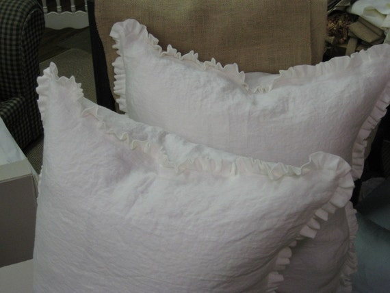 Pair Of Washed Linen Euro Shams 1 Ruffled Edge Vintage
