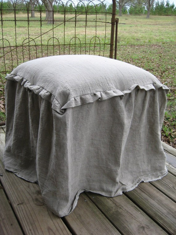 Ready To Ship Vanity Stool And Washed Linen Slipcover