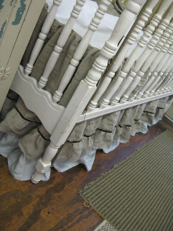Torn Ruffle Linen Nursery Bedding With Velvet By