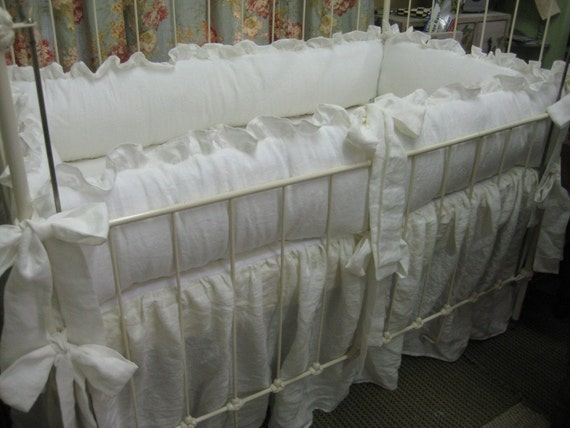 "Vintage White Crib Bedding-Ruffled White Nursery Bedding-2"" Ruffled Bumpers/Long sash style ties/Gathered Storybook Cribskirt"