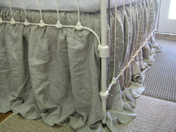 Storybook Style Extra Long Crib Skirt in Washed Natural Linen