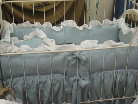 Ruffled Nursery Bedding in Washed Verdigris Patina Linen-READY TO SHIP