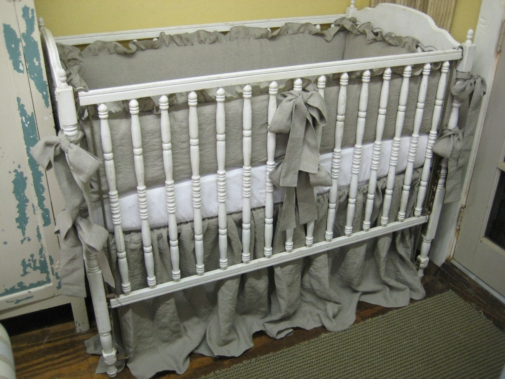 Natural Handkerchief Washed Linen Ruffled Crib Bedding For