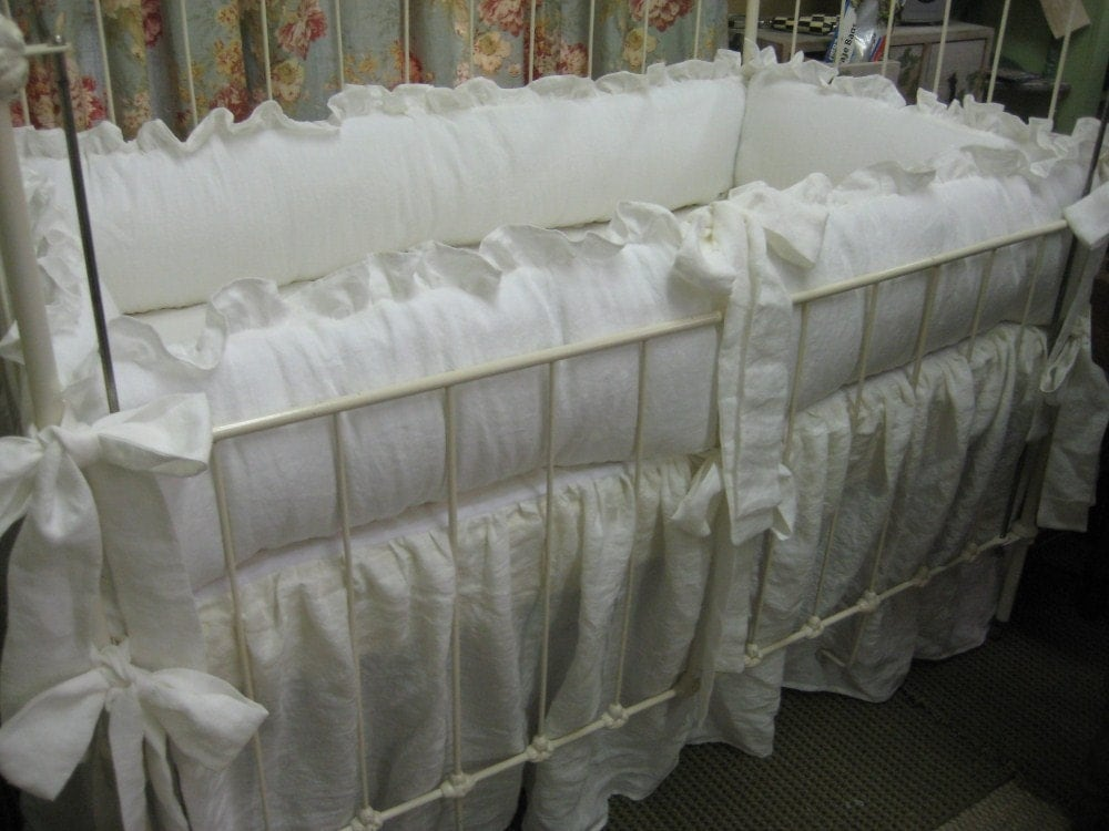 Vintage White Crib Bedding Ruffled White Nursery