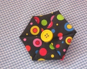 Bright Polka Dot Fabric Flower Hair Bow with yellow button, blue, yellow, red, pink and green dots