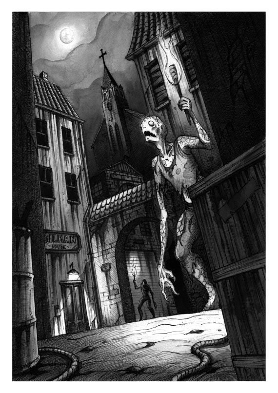 Innsmouth - Ink drawing