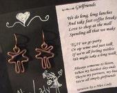 """Copper Earrings. """"Girlfriends"""".  Nice Lady Jewelry.  Free shipping"""