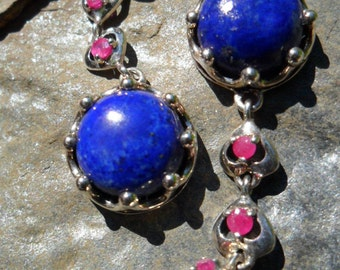 Lapis and Ruby Sterling Silver Earrings