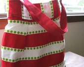 Cotton tote bag in lipstick red, white, and chartreuse green, beach bag, diaper bag, weekend bag, summer bag